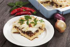 Pasticcio with ground beef and bechamel sauce Royalty Free Stock Image