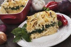 Pasticcio with zucchini and chard. Pasticcio or pastitsio, oven baked pasta with zucchini and chard Royalty Free Stock Image