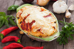 Pasticcio with zucchini and cheese Royalty Free Stock Photos