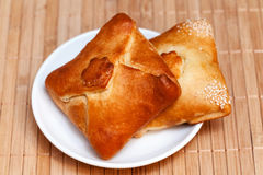 Pasties stuffed meat on bamboo napkin, close up Royalty Free Stock Image