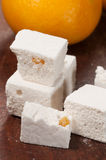 Pastille with orange succade. Close up shot Royalty Free Stock Photos