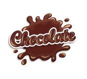 Pastilles et tache de chocolat avec le lettrage Photographie stock