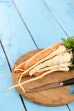 Pastinaga fresca para a sopa na tabela de madeira Imagem de Stock Royalty Free