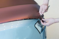 Pasting of car carbonic plastic Royalty Free Stock Photo