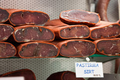 Pastirma. Istanbul, Turkey. Pastirma, Turkish air dried meat. Egyptian Market. Istanbul, Turkey Stock Images