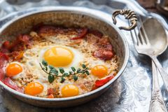 Pastirmali yumurta - traditional turkish dish with eggs and cured beef Royalty Free Stock Photography