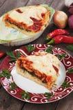 Pastisch med chard- och tomatsås fotografering för bildbyråer
