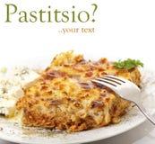 Pastitsio, alimento greco Fotografie Stock Libere da Diritti