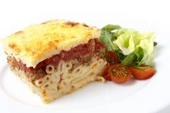 Pastitsio and salad Stock Image