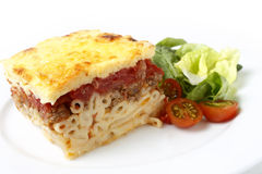 Pastitsio and salad Stock Image