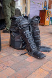 PASTO, COLOMBIA - JULY 3, 2016: police equipment standing on the ground on the central square of the city Royalty Free Stock Photos
