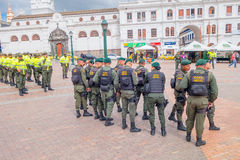 PASTO, COLOMBIA - JULY 3, 2016: police squad standing on the ventral square wearing lifejackets Royalty Free Stock Images