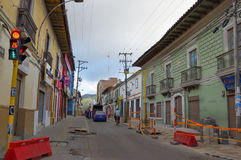 PASTO, COLOMBIA - JULY 3, 2016: repair works on the sidewalks of the city Royalty Free Stock Image