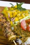 Pasto cotto del kebab del pollo Fotografie Stock