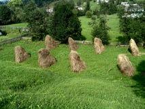 Pasto da montanha com as pilhas pequenas do feno Fotografia de Stock