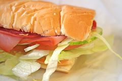 Pasto del panino del sottopassaggio Fotografia Stock