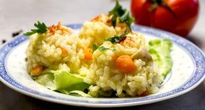 Pasto delizioso, riso con carne di pollo - petto di pollo immagini stock