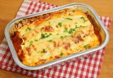 Pasto della convenienza delle lasagne al forno Fotografia Stock Libera da Diritti
