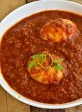 Pasto indiano con il curry dell'uovo Fotografia Stock