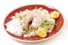 Pasto Mediterraneo del pilaf del pollo Fotografie Stock Libere da Diritti
