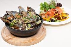Pasto, mitili della Nuova Zelanda e salmoni pranzanti fini Fotografie Stock