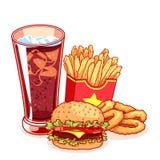 Pasto rapido: vetro dell'anello della cola, delle patate fritte, dell'hamburger e di cipolla Immagini Stock Libere da Diritti