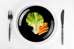 Pasto sano organico in piatto isolato su fondo bianco Fotografia Stock