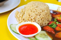 Pasto stabilito del riso con le fette del porco Fotografia Stock Libera da Diritti