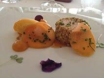 Pasto in un ristorante pranzante fine Fotografia Stock