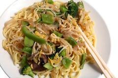 Pasto vegetariano delle tagliatelle del mein del cibo Fotografia Stock Libera da Diritti