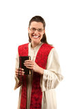 Pastor. Female pastor with red stole and Bible royalty free stock photography
