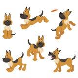 Pastor alemán Puppy Dog Poses stock de ilustración