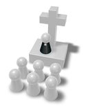 Pastor and christian cross. Simple pastor figure, christian cross symbol and crowd - 3d illustration Royalty Free Stock Image