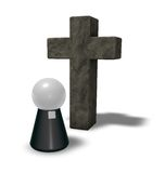 Pastor and christian cross. Simple pastor figure and christian cross symbol - 3d illustration Stock Images
