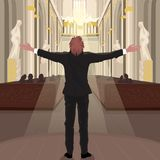 Pastor in Church calls parishioners to pray. Pastor calls parishioners to pray. Man in black suit stands with arms outstretched inside Cathedral Church vector illustration