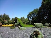 Pastor com seus carneiros Jardim botânico de Montreal Canadá fotografia de stock