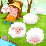 Pastor con la multitud de ovejas Imágenes de archivo libres de regalías