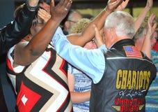 Pastor Jerry Savelle i congregation zdjęcie stock