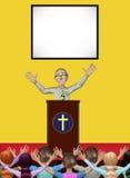 Pastor Praying Worshiping God Church medlemillustration Royaltyfria Bilder