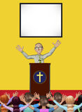 Pastor Mass Praying Worshiping God Church Illustration Royalty Free Stock Images