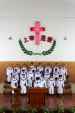 Pastor preaching. With choir  in church of longhai city on sunday, fujian province, china Royalty Free Stock Photos