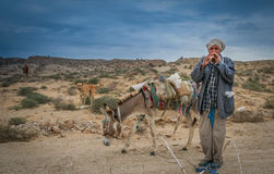 Pastor que joga a flauta Imagens de Stock Royalty Free