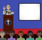 Pastor Teaching God Words On etappillustration Royaltyfri Foto