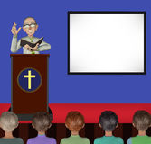 Pastor Teaching God Words On Stage Illustration. A senior pastor teaching the word of God on stage to the attentive church members Royalty Free Stock Photo