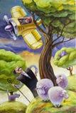 Pastor y aeroplano stock de ilustración