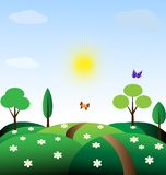 Pastoral. Toy landscape - sun, blue sky, green fields, road, trees, and two butterfly Royalty Free Stock Photography