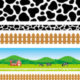 Pastoral background. Set of pastoral illustration.  cow pattern Royalty Free Stock Photo