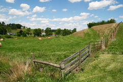Pastoral Farm - Fence, Grass, Blue Sky and Clouds. A picturesque view of the fence line running along the edge of a central Virginia farm, with rolling hills Stock Photos