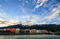 Pastoral Innsbruck architectural houses on Inn River and European alps natural background, Tyrol, Austria, Europe stock images