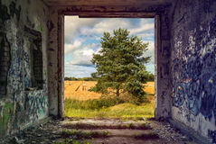 Pastoral landscape seeing through frame of old building royalty free stock images